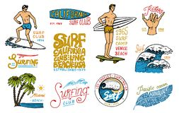Surf badge and wave, palm tree and ocean. tropics and california. man on the surfboard, summer on the beach and the sea stock illustration