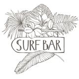 Surf bar. Composition this Signboard and Tropical palm leaves, vector illustration. Graphic hand drawn painted. Illustration stock illustration