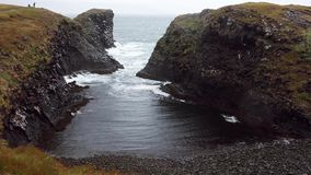 Surf on beach, beautiful and harsh nature of Iceland stock video footage