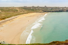 Surf beach at Cape Toulinguet, Camaret sur Mer, Brittany, France Stock Photo