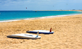 Surf on the beach. In the island of Sal in  the archipelago of Cape Verde Royalty Free Stock Photo