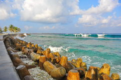 A surf beach in Male, Maldives Stock Image