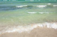 Surf on beach of Mediterranean sea, Alcudia, Majorca, Spain. Stock Photos