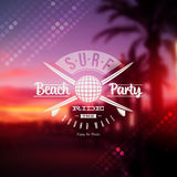 Surf beach party type sign royalty free illustration