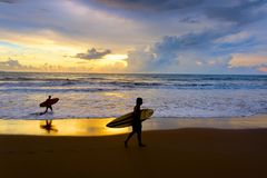 Surf beach scene. Bali island royalty free stock image