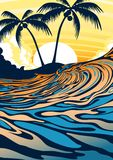Surf beach at sunrise. Vector illustration of a surfing wave with palm trees at sunrise Royalty Free Stock Image