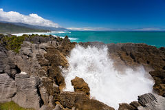 Surf in blowhole Pancake Rocks of Punakaiki, NZ Stock Photos