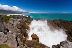 Surf in blowhole Pancake Rocks of Punakaiki, NZ Stock Photos