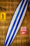 Surf board against  bamboo wall Royalty Free Stock Photo