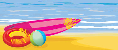 Surf board, beach ball and swimming mattress on th royalty free stock photo