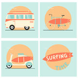 Surf board, bicycle, van and scooter. Hand drawn surf board, bicycle, van and scooter holiday transport icons set Stock Image