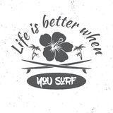 Surf board hire concept. Vector Summer surfing retro badge. Stock Images