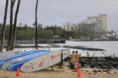 Surf board rentals on the beach Stock Photos