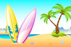Surf Board on Sea Beach Royalty Free Stock Photos