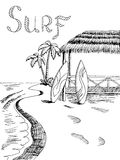 Surf board sea graphic art black white landscape illustration Royalty Free Stock Photos
