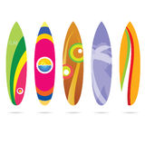 Surf board set illustration in colorful on white Royalty Free Stock Images