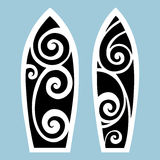 Surf board. Tattoo style. Surf board. Illustration in the Polynesian style tattoo Stock Photography