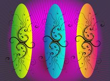 Surf board_vector. Vector surf board wallpaper design Stock Photos