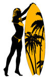 Surf board and young pretty woman bikini and palm trees. Vector design template Stock Photos