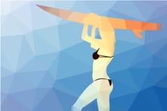 Surf board and young pretty woman bikini polygons stock illustration