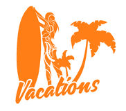 Surf board and young pretty woman bikini tribal style vector image Stock Photo