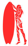 Surf board and young pretty woman bikini tribal style vector image Stock Images