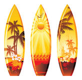 Surf boards. With colorful landscapes Royalty Free Stock Photography