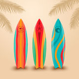 Surf boards with different design. Vector illustration Royalty Free Stock Photos