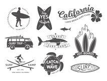 Surf boards emblem and badges vector set. Signs and elements for summer labels design vector illustration