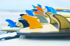 Surf boards and fins up Royalty Free Stock Photography