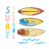 Surf boards hand drawn sketch t-shirt print design. Surf boards hand drawn sketch t-shirt print design, surfing school typography, Summer vintage retro badge Stock Images