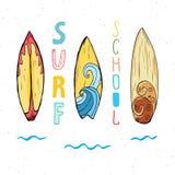 Surf boards hand drawn sketch t-shirt print design  Stock Photo