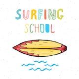 Surf boards hand drawn sketch t-shirt print design, surfing school typography, Summer vintage retro badge template, vector illustr Stock Image