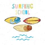Surf boards hand drawn sketch t-shirt print design, surfing school typography, Summer vintage retro badge template, vector illustr Stock Images