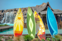 Surf boards Hawaii resort. Four surf boards Hawaii resort royalty free stock photography
