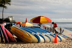Surf boards for hire Waikiki. Royalty Free Stock Image