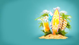 Surf boards on paradise island. With palms. Unusual travel 3d illustration. Summer vacation concept Royalty Free Stock Image