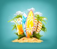 Surf boards on paradise island. With palms. Unusual travel 3d illustration. Summer vacation concept Stock Images