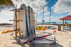 Surf boards parking rack near water sport check-in Stock Photography