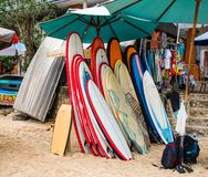 Surf boards for rent in Bali Indonesia stock photography