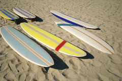 Surf boards on sand Royalty Free Stock Image