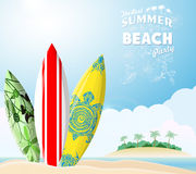 Surf boards on sea beach Stock Photography