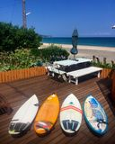 Surf boards surf location in Chiba Japan. Surf boards looking out over the beach in Chiba Stock Photography