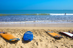 Surf Boards on Tropical Sand Beach Stock Photos