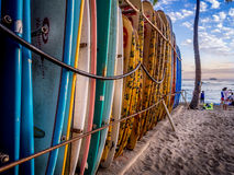 Surf boards on Waikiki beach Stock Photo