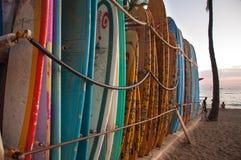 Surf boards in Waikiki beach Stock Photo