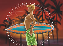 Surf boy with mandala Royalty Free Stock Photos