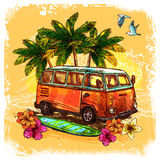 Surf Bus Sketch Concept. Surf or hippy style vintage old bus with surfboard flowers and palm sketch color concept vector illustration Stock Images