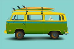 Surf Bus, vector illustration green blue background stock illustration