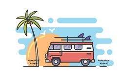 Surf and bus. Vector linear surf and bus flat background Stock Image